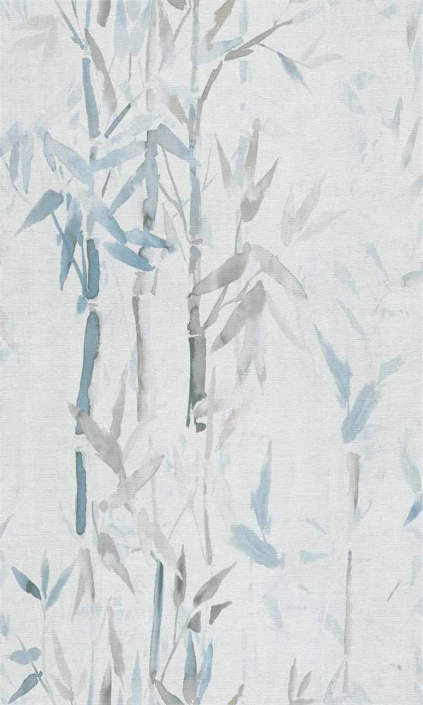 Light Grey & Blue Asian Inspiration Nature Wallpaper R5495