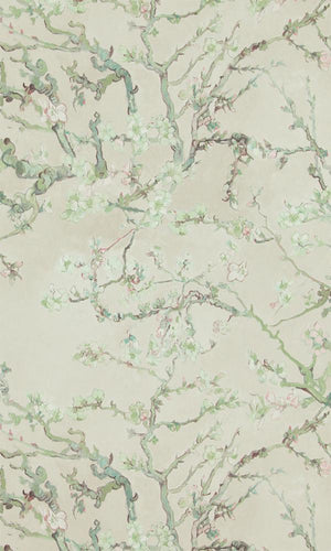 Grey Almond Blossom Wallpaper R2789  | Luxury Living Room Design