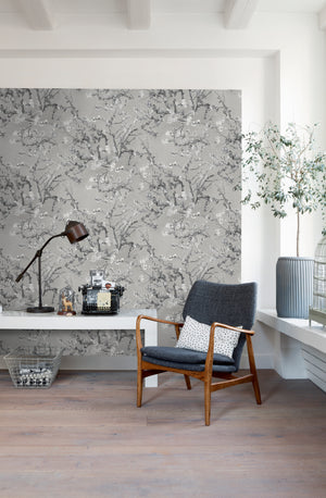 Dark Grey Almond Blossom Floral Wallpaper R5000