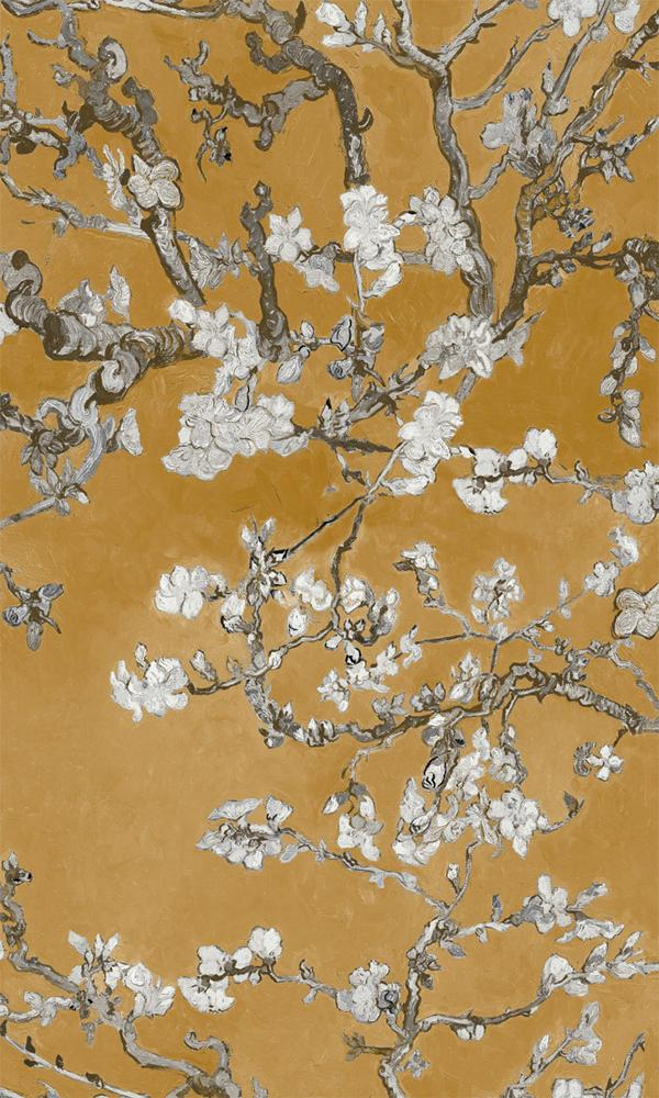 Yellow Almond Blossom Floral Wallpaper R5002