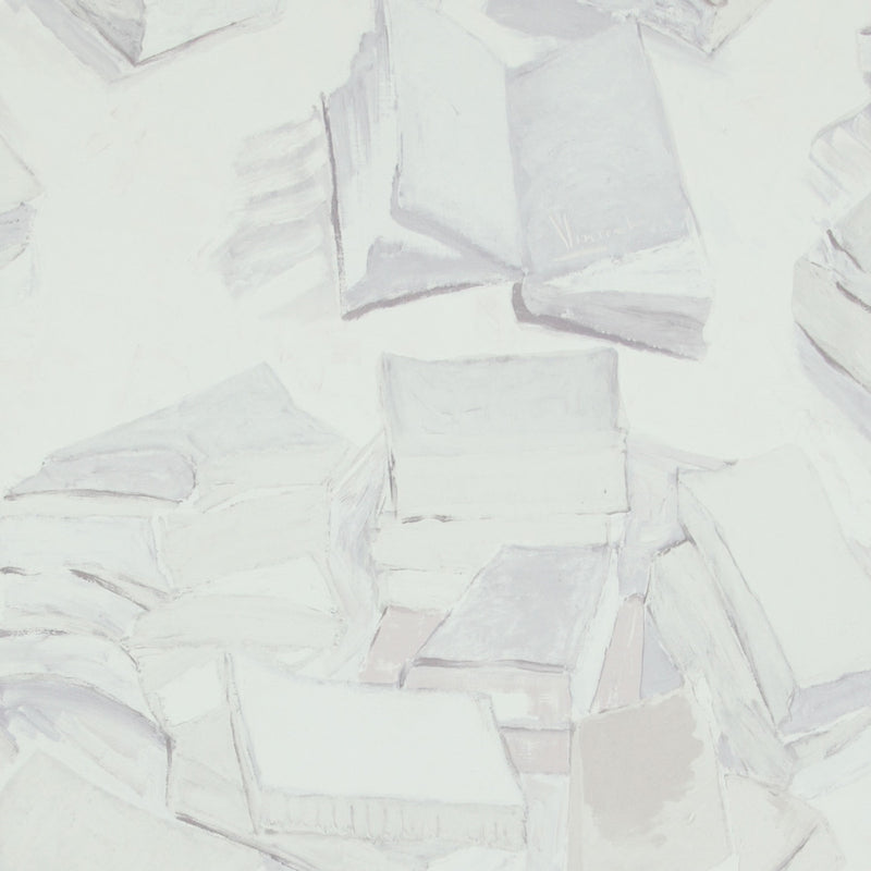 Grey Piles of Books Van Gogh Wallpaper R2807