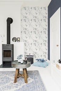Classic Luxury Autumn Birch White And Navy Wallpaper R4067