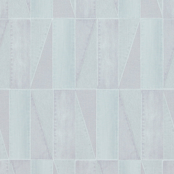 Urban Denim Patch Light Blue and Green Wallpaper R4093