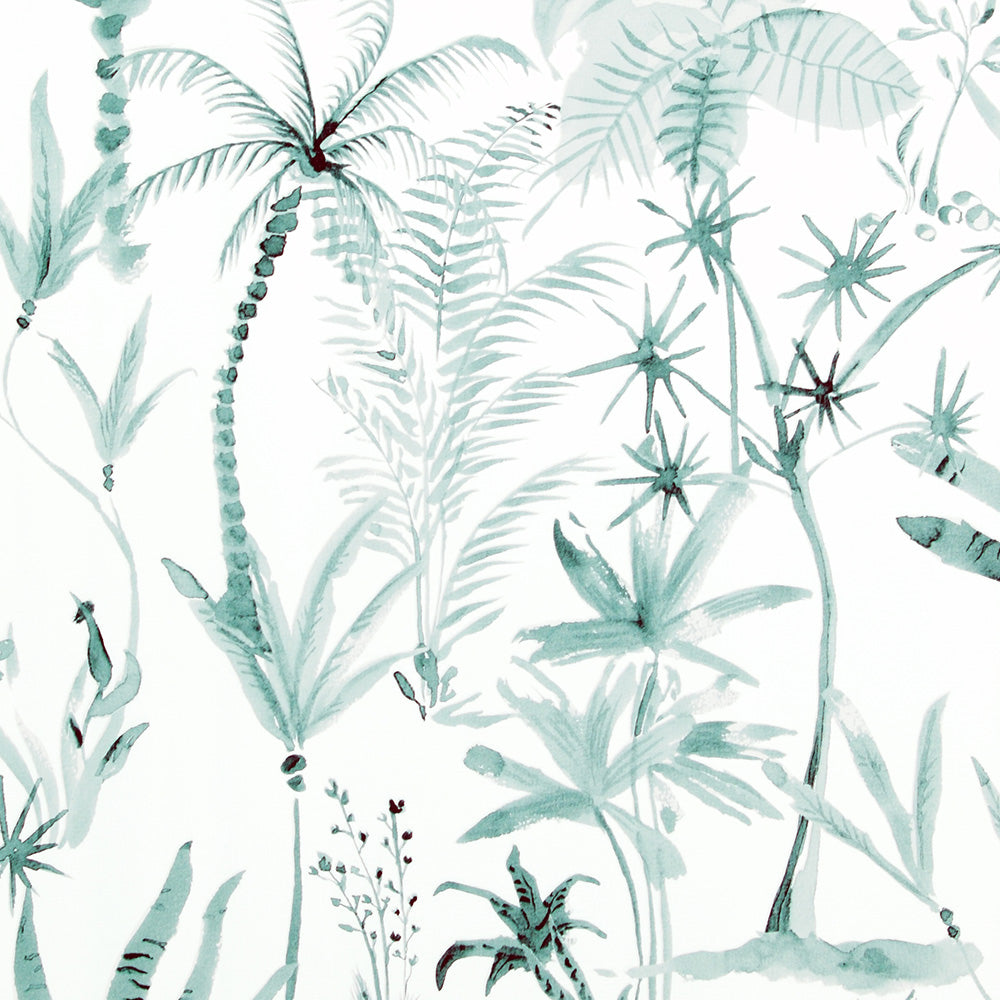 White And Teal Tropical Wallpaper R4198 | Nature-inspired Home Wall Covering