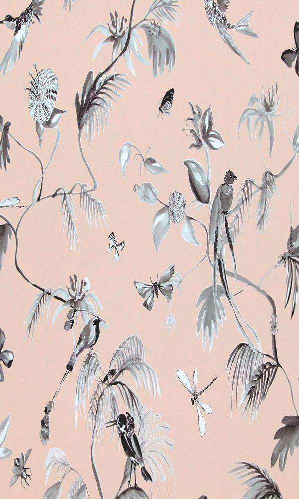 Classic Bird Of Nature Baby Pink And Green Wallpaper R4178