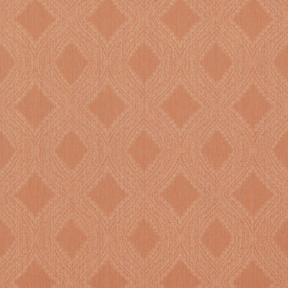 Transitional Geometric Diamond Weave Peach Wallpaper R4118