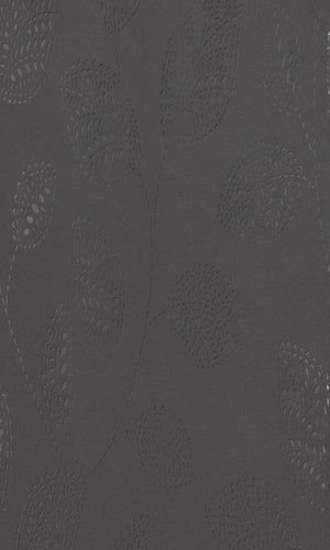 Contemporary Dashed Leaves Black And Silver Wallpaper R4126