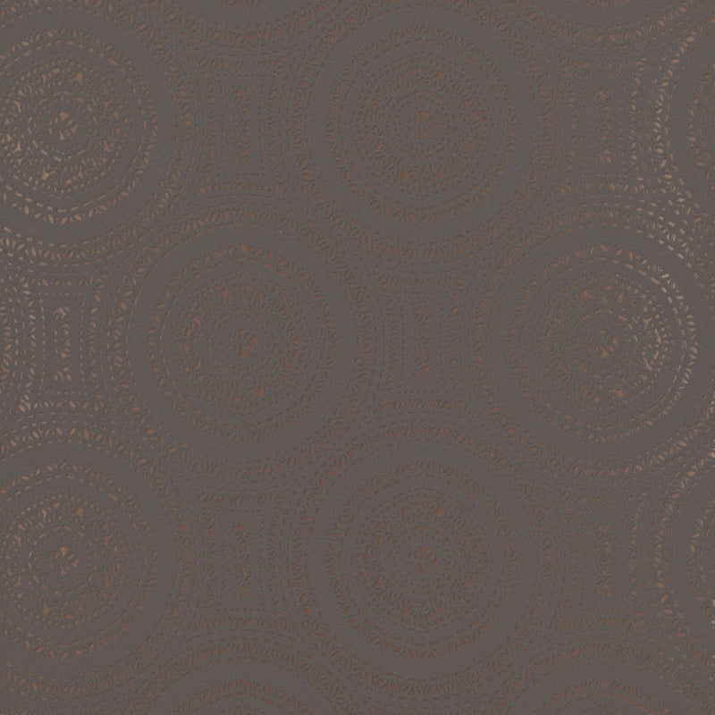 Geometric Tribal Rings Grey and Rose Gold Wallpaper R4123