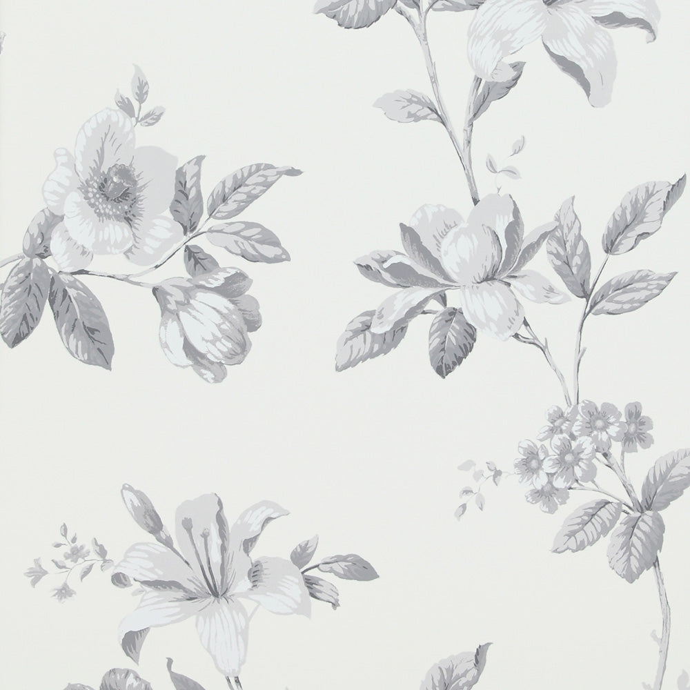 Vintage White And Grey Floral Wallpaper R4104 Traditional Home
