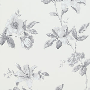 Vintage White And Grey Floral Wallpaper R4104 | Traditional Home Wall Covering, black and white vintage floral wallpaper