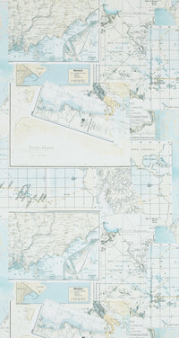 Washed Yellow Map Wallpaper R4322 | Vintage Home Interior