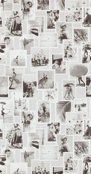 Black and White Memories Vintage Wallpaper R4347