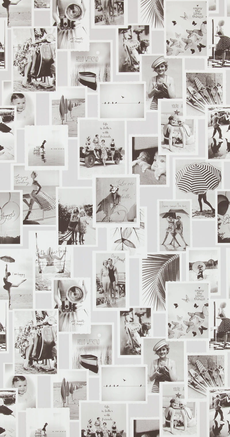 Vintage Black and White Memories Wallpaper R4347