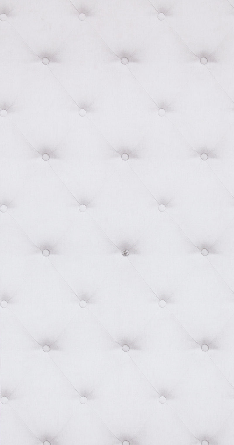 White Faux Tufted Cushion Wallpaper R4328 | Modern Home Interior