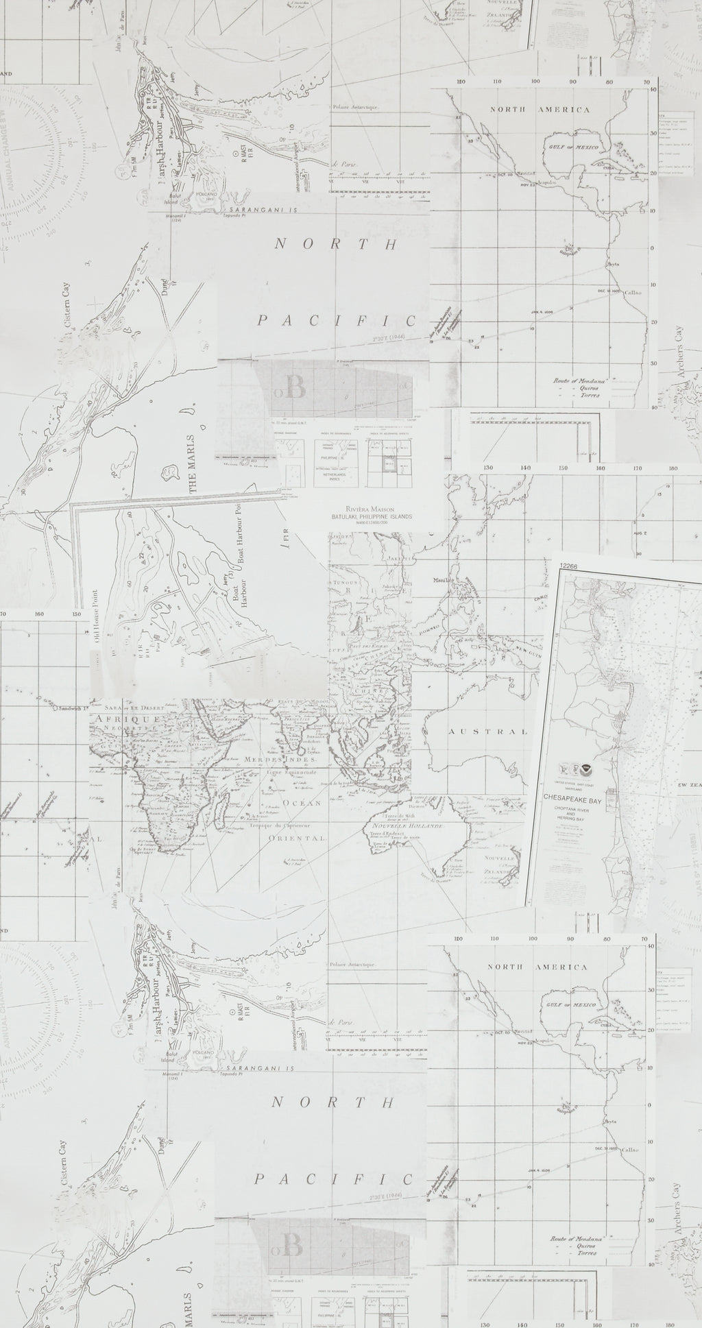 Washed Layer White Pacific Map Wallpaper R4320