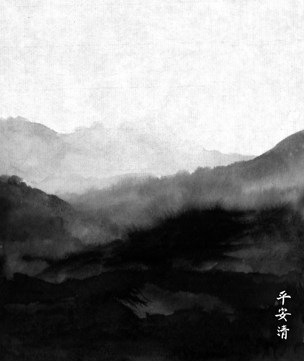 Minimalist Painted Mountains Wallpaper Mural Black and White M9255