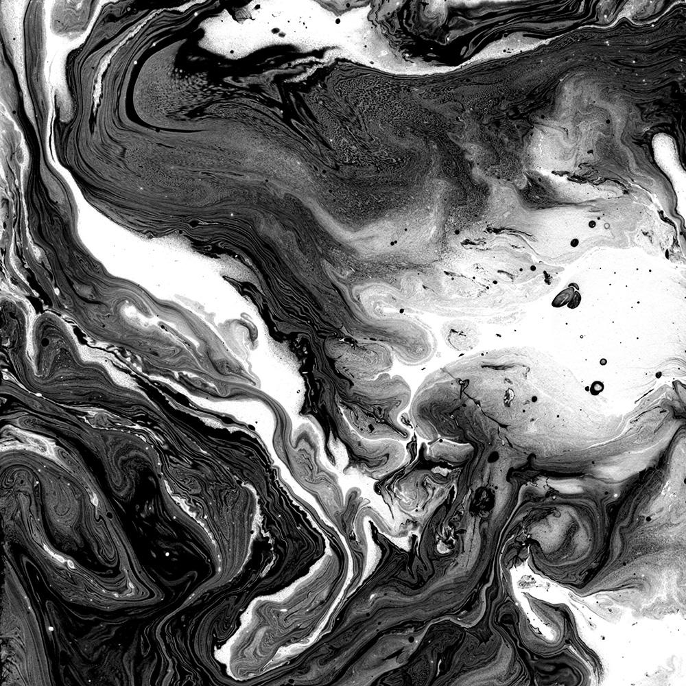 Marbled Surface Wallpaper Mural Black and White M9256