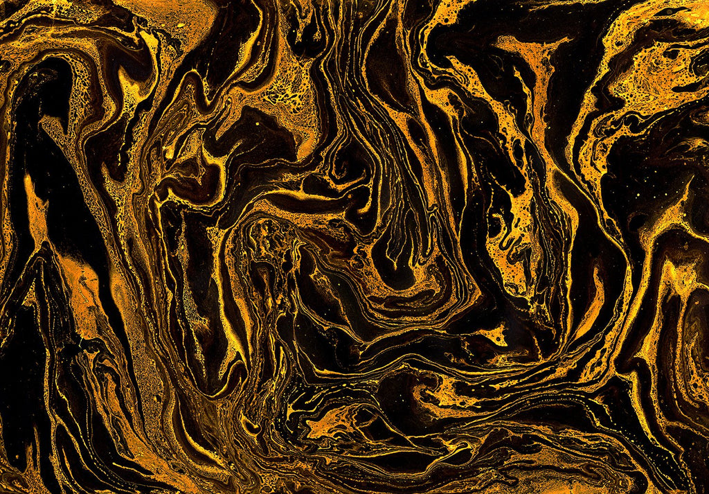 Marbled Tigers Eye Wallpaper Mural Orange and Black M9258