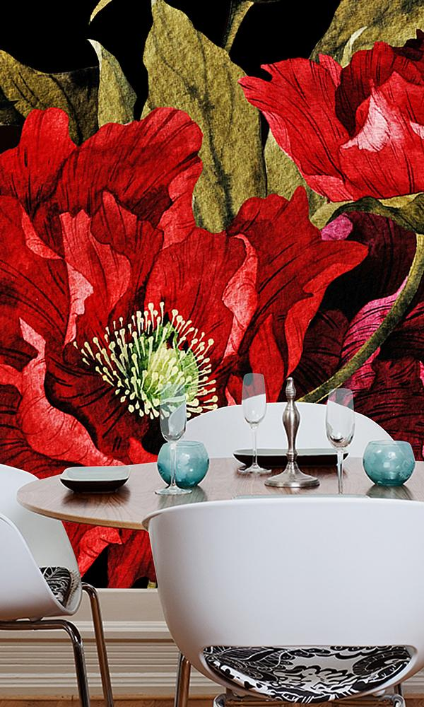 Paper Flowers Wallpaper Mural Red and White M9260