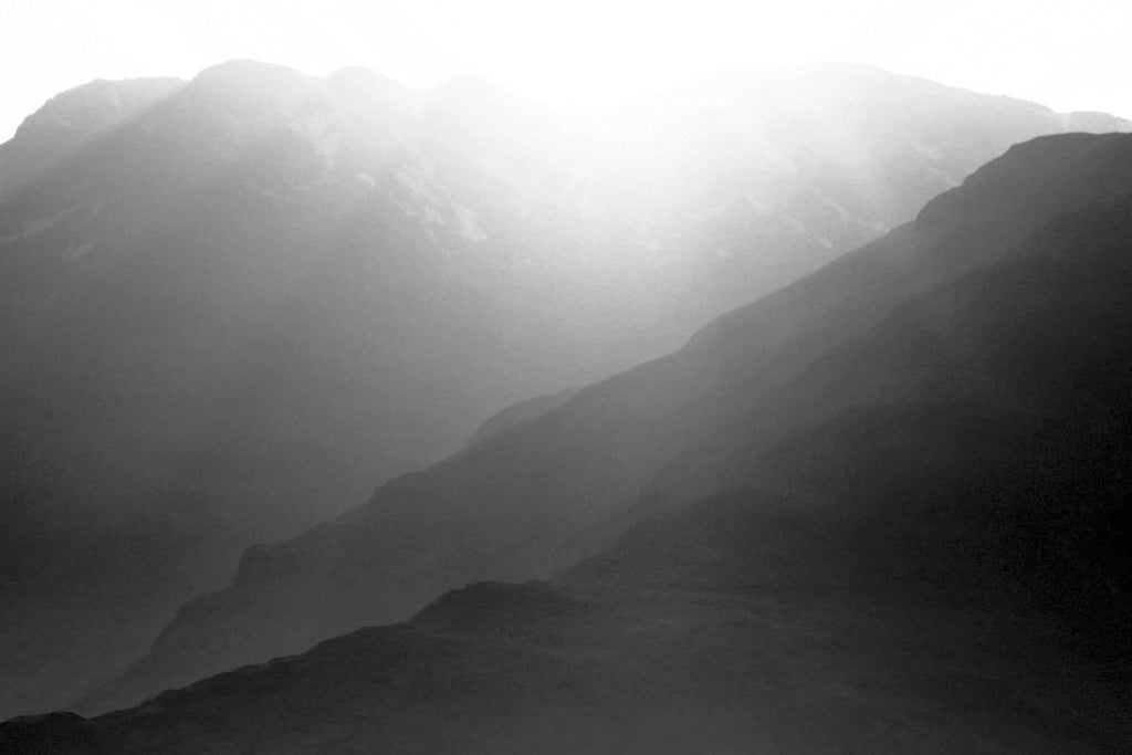Mountain Sunrise Wallpaper Mural Black and White M9262
