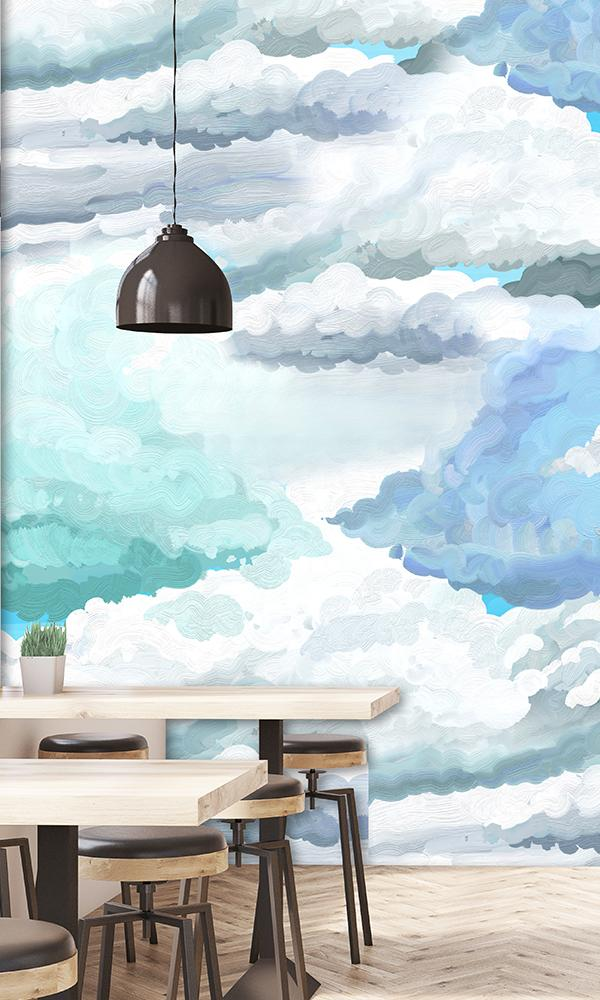 Painted Blue Sky Mural M9315 | Tropical Home Wall Covering