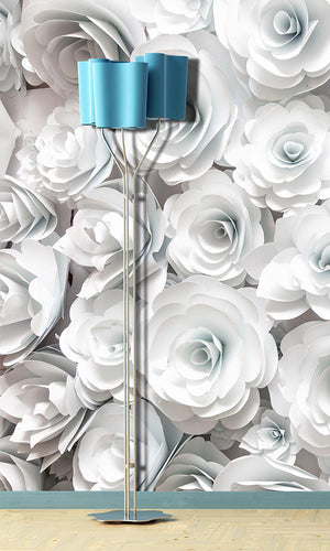White Paper Roses Mural Wallpaper M9319
