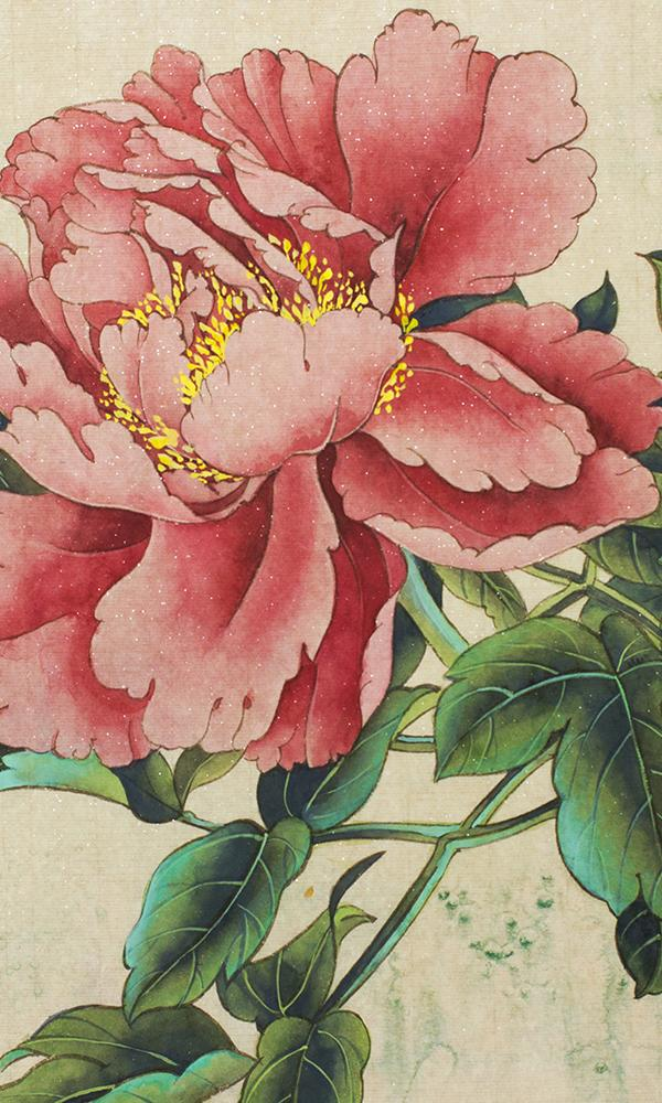 Pink Japanese Blooming Peony Mural Wallpaper M9454. Digital Wallcoverings. Mural Wallpaper. Digital wallpaper.