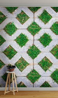 overgrowth grassy diamonds living wall wallpaper mural
