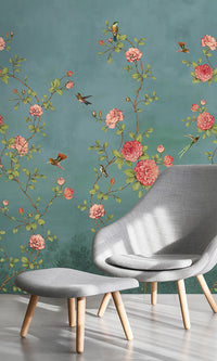 vintage floral chinoiserie wallpaper