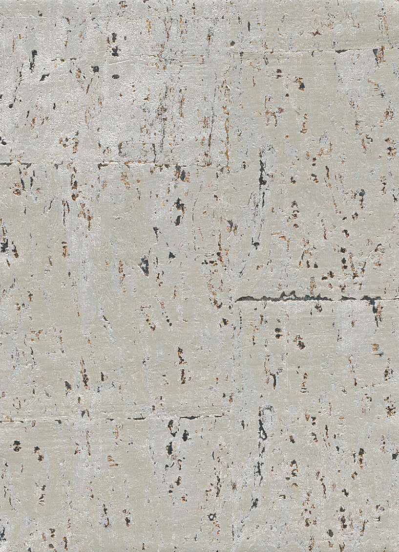 Elder Cork Metallic White Wallpaper R2823