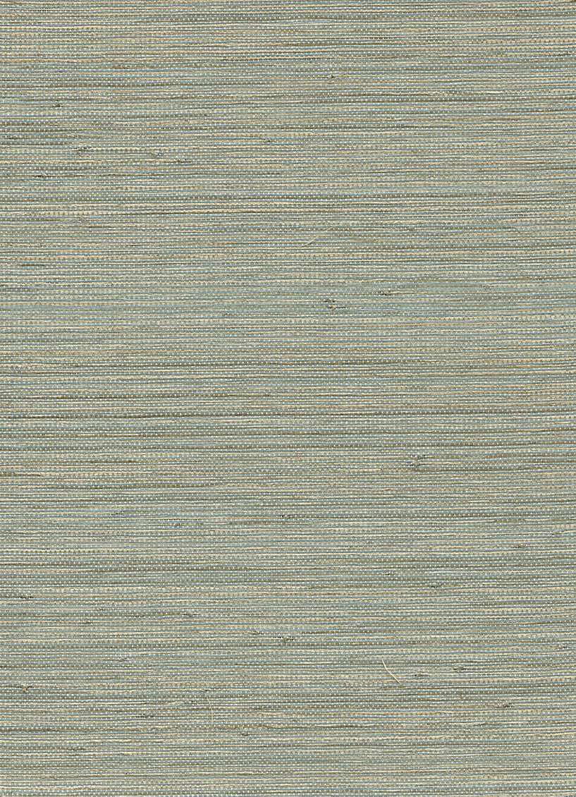 Woven Horizon Blue and Beige Grasscloth Wallpaper R2867