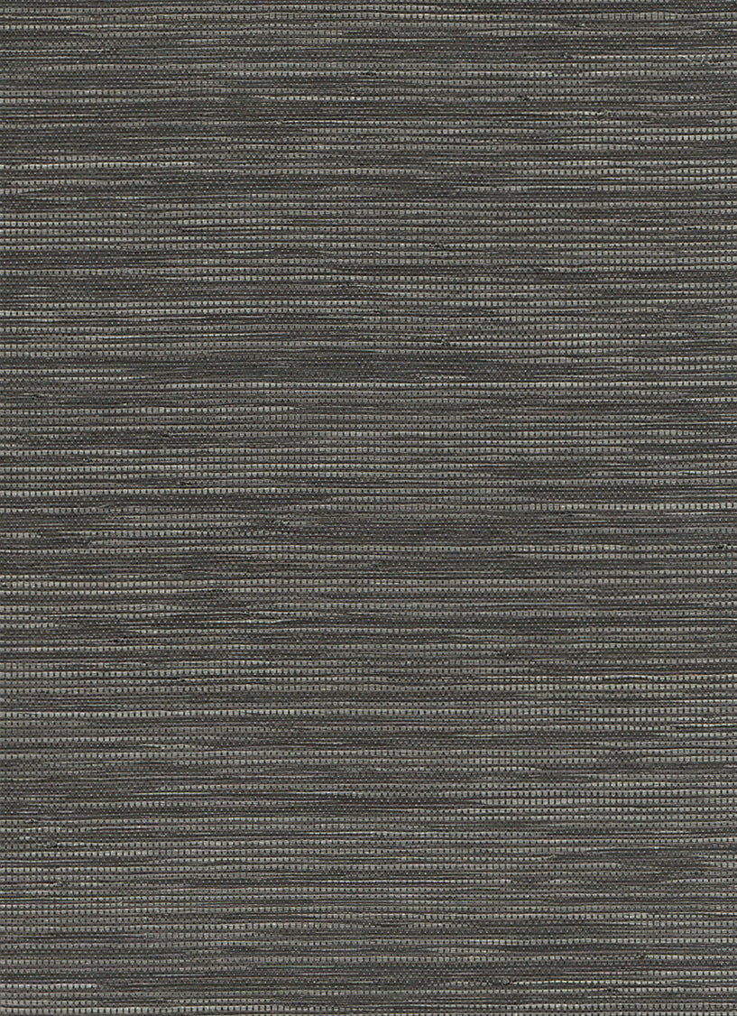Woven Horizon Black and Grey Grasscloth Wallpaper R2868