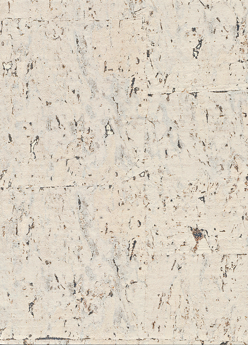 Elder Cork Metallic White and Silver Wallpaper R2825