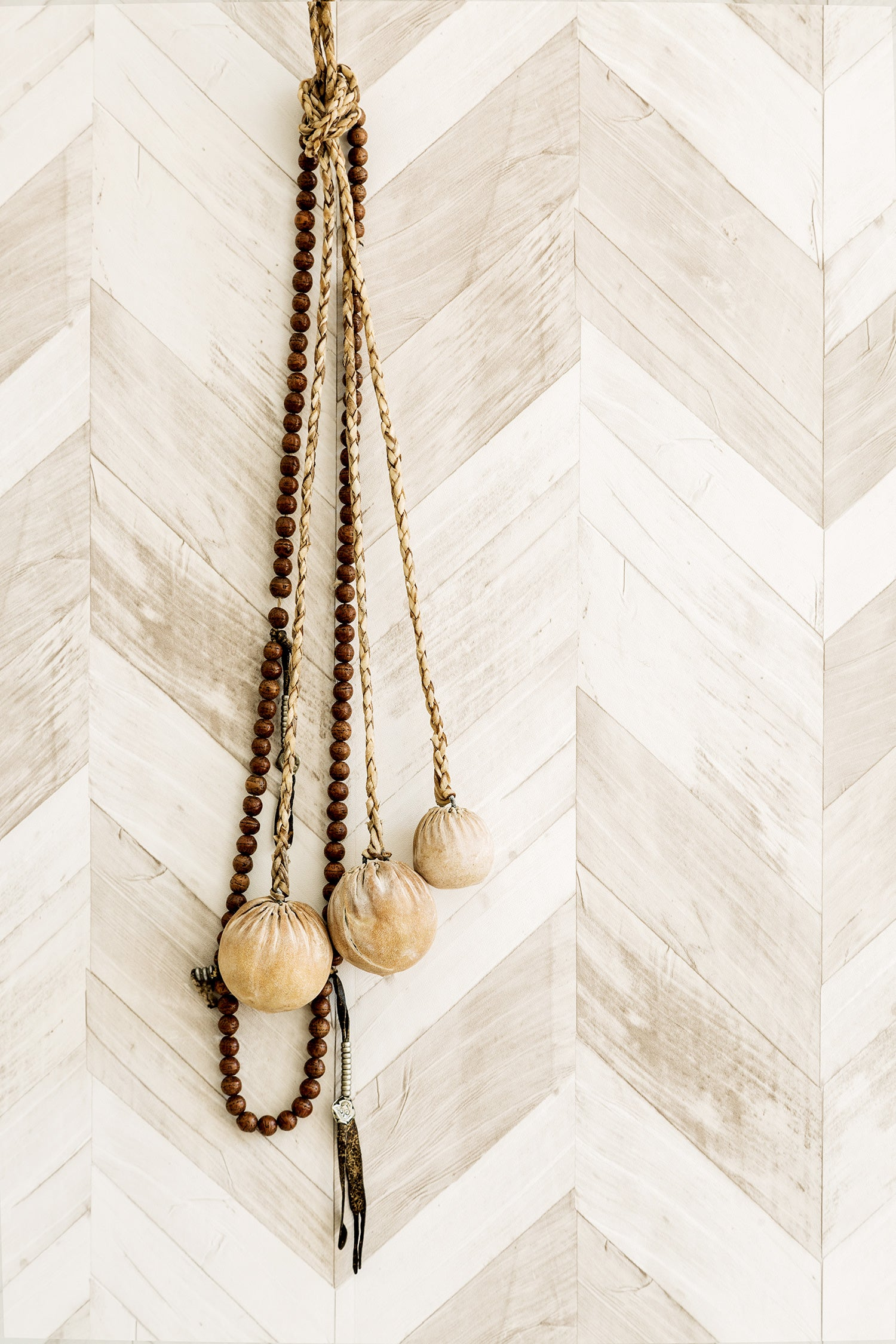 Wood Weathered Herringbone Wallpaper White And Grey Brown