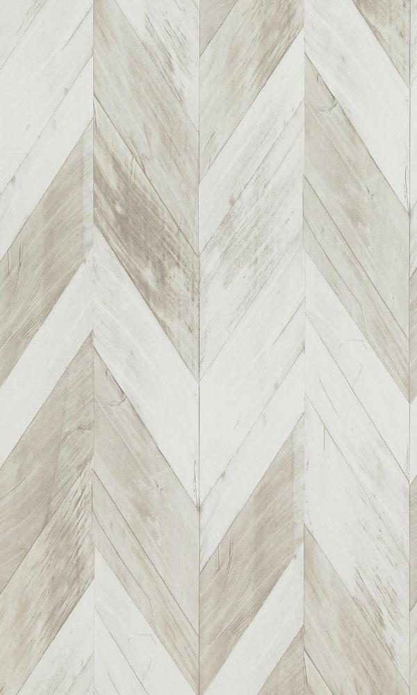 Wood Weathered Herringbone Wallpaper White and Grey Brown R4664