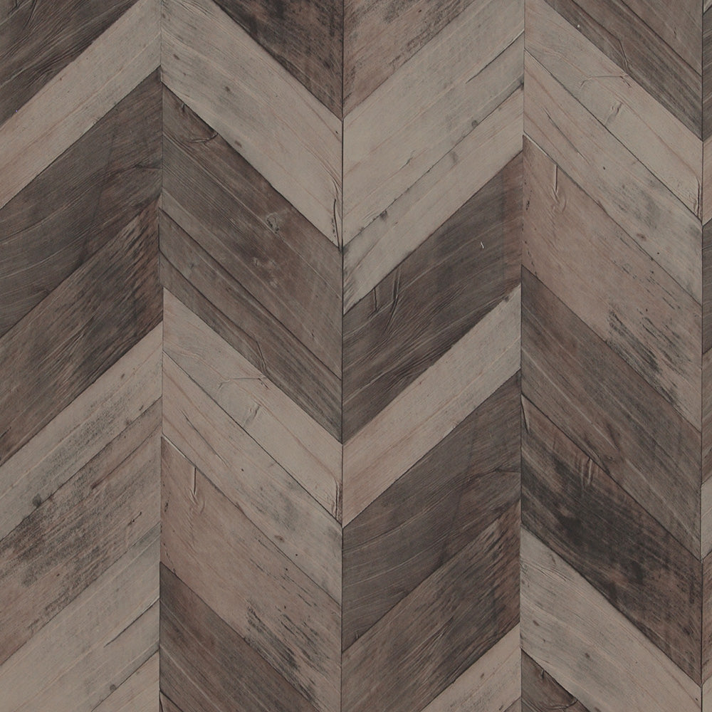 Wood Weathered Herringbone Wallpaper Brown and Taupe R4662