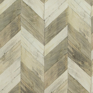 Wood Weathered Herringbone Wallpaper Beige and Light Brown R4660