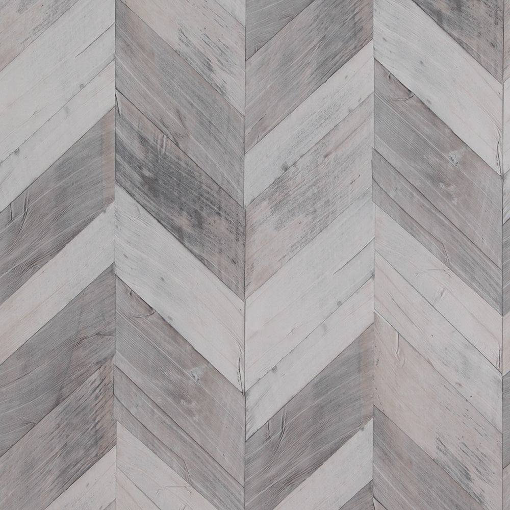 Wood Weathered Herringbone Wallpaper Grey and Steel Blue R4661