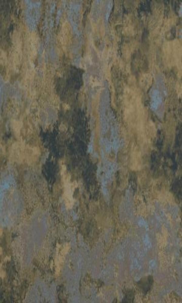 Concrete Cloudy Abstract Wallpaper Muddy Taupe and Metallic Blue R4668