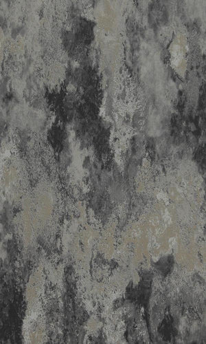 Concrete Cloudy Abstract Wallpaper Black and Metallic Silver R4669