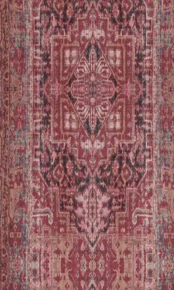 Bohemian Persian Rug Inspired Burgundy and Taupe Wallpaper R4704