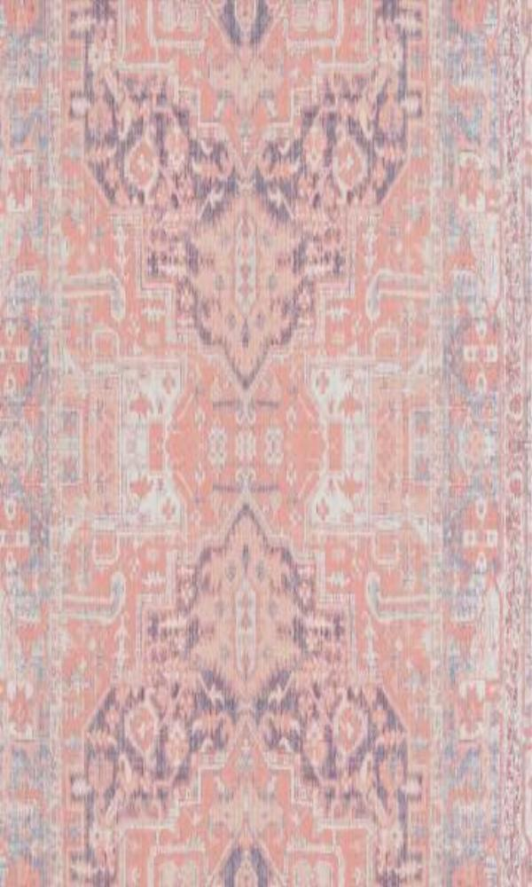 Bohemian Persian Rug Inspired Coral and Indigo Wallpaper R4705