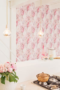 Geometric Pixellated Floral Wallpaper Pink and Violet R4658