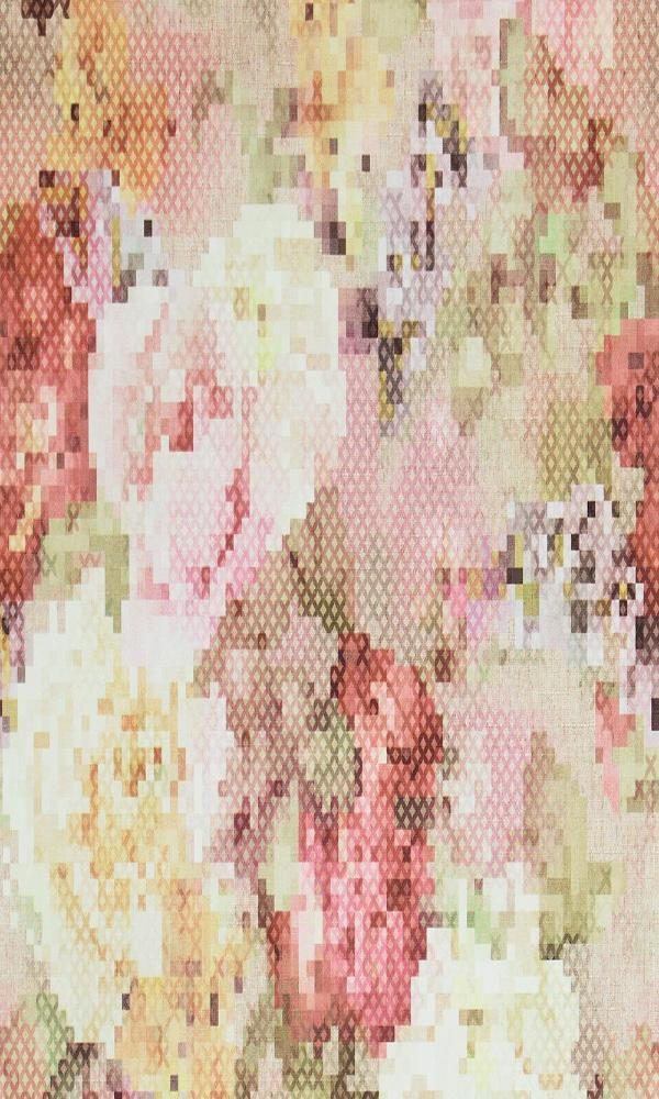 Geometric Pixellated Floral Wallpaper Red and White R4656