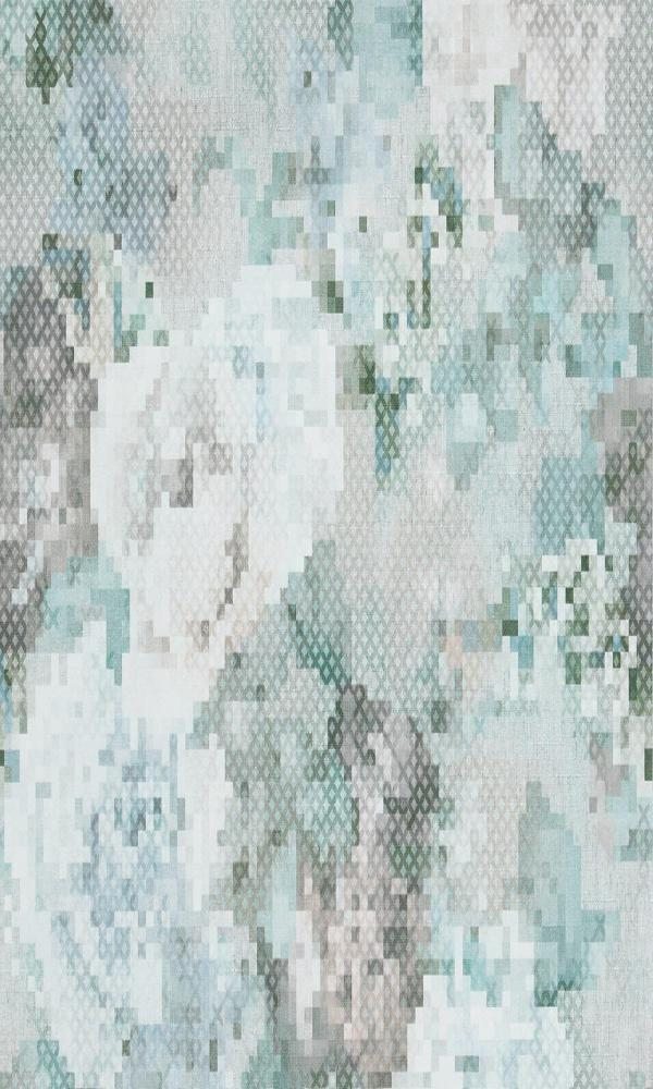 Geometric Pixellated Floral Wallpaper Blue and Teal R4657