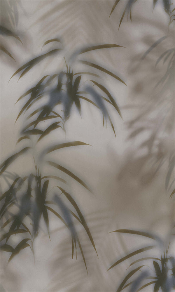 Taupe & Forest Green Tropical Leaves Behind Fog R5698