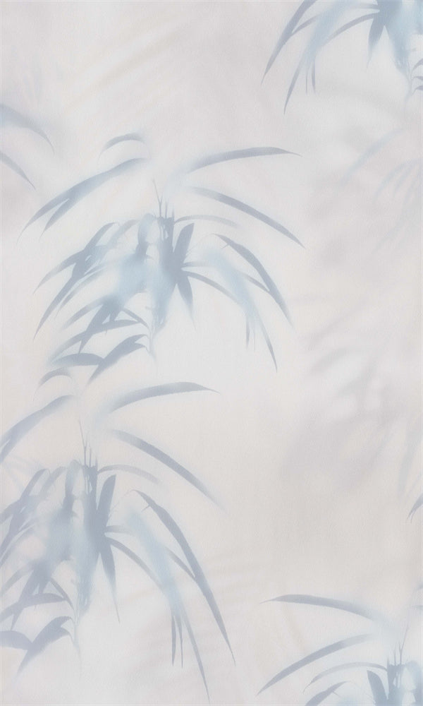 Champagne Pink & Grey Blue Tropical Leaves WallpaperR5700