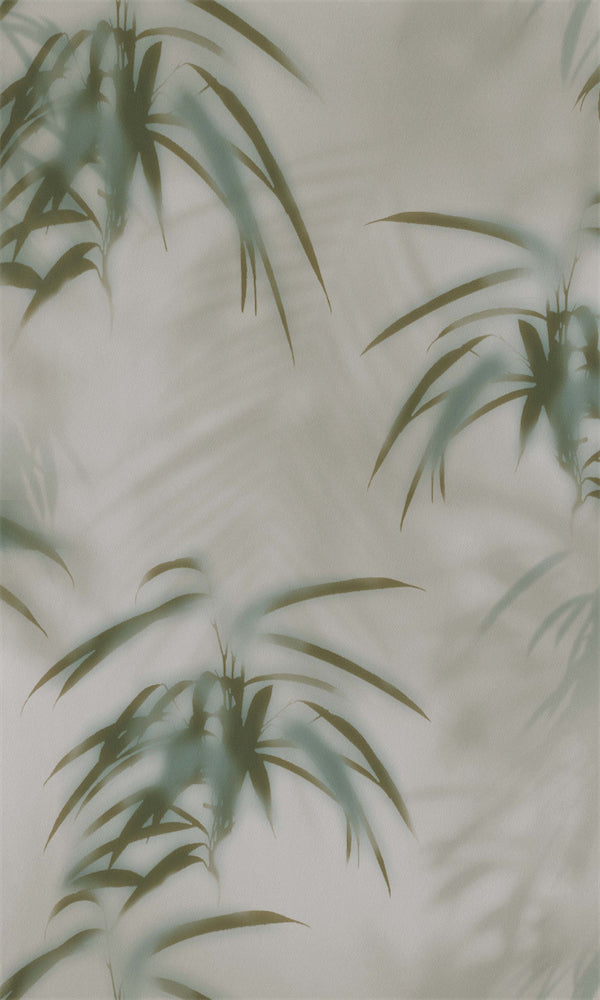 Warm Grey & Forest Green Tropical Leaves Behind Fog R5702