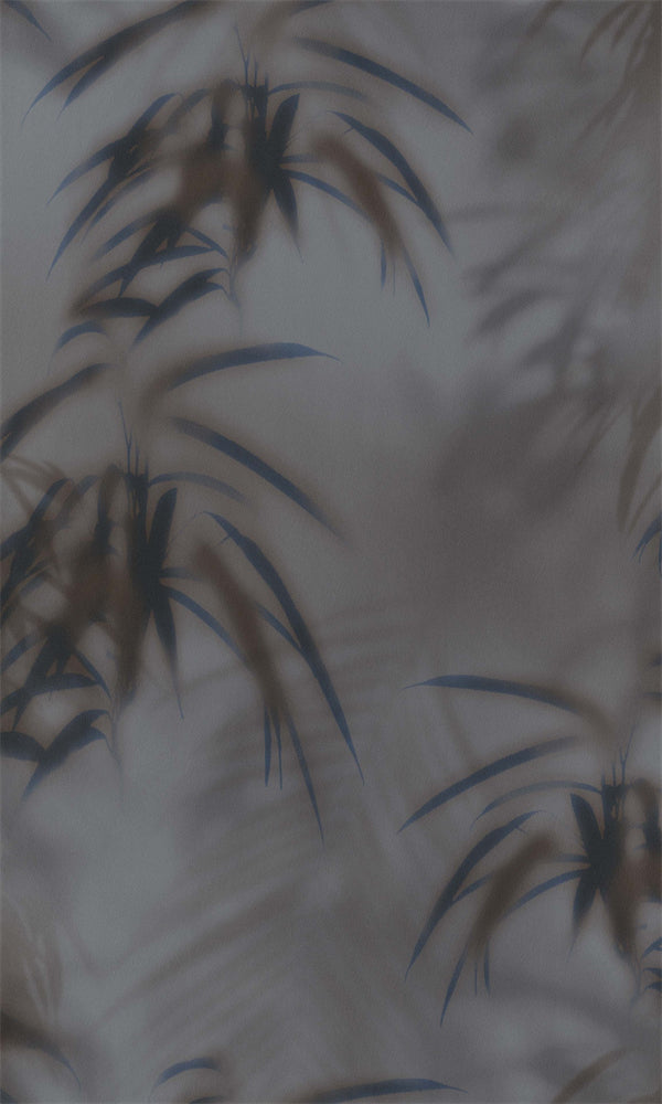 Graphite & Dark Blue Tropical Leaves Behind Fog R5703