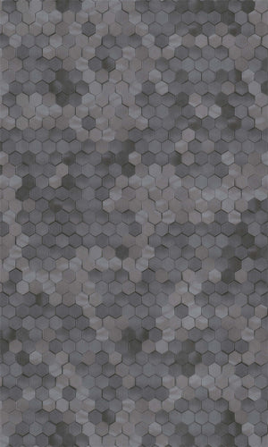 Dark Grey Shimmering Hexagons R5676